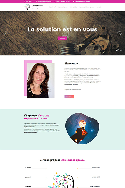 creation site web carine merlaud hypnose le landreau conception site web graines de web